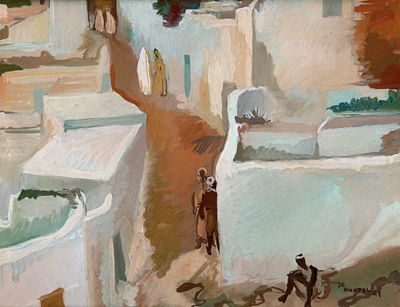 Rue animee au Maroc. Gouache sur papier, signe en bas a droite et date.jpg