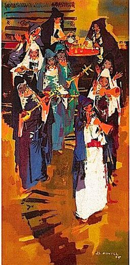 Jean Gaston Mantel musiciens de Tiznit, huile sur toile, 1965.jpg