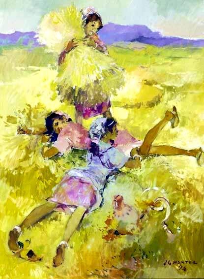 SCENE DE CAMPAGNE, 1994. Huile sur toile. Signee JG Mantel peintre a Rabat.jpg