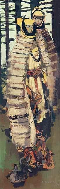 FILLETTES D\'IMILCHIL - 1964. Huile sur toile Signee JG Mantel.jpg