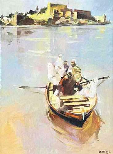Jean-Gaston MANTEL  - Traversée du Bouregreg, 1970 huile sur toile.jpg