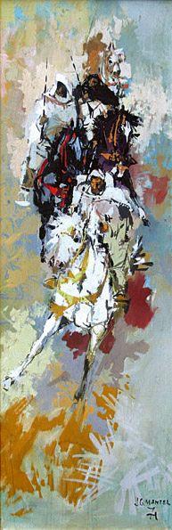 jg mantel , une de ses oeuvres, theme typique descavaliers marocains, 1971,huile sur toile..jpg