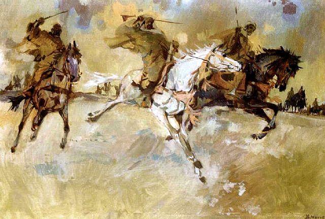 Jean Gaston Mantel fantasia marocaine huile sur toile  1970.jpg