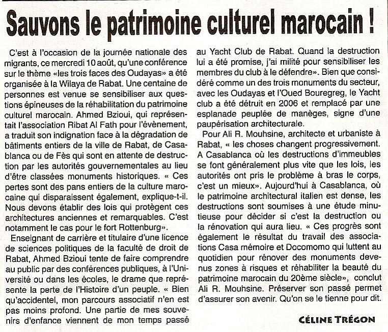 Sauvons le patrimoine du Maroc Aout 2011,écrit par Céline Trégon.jpg
