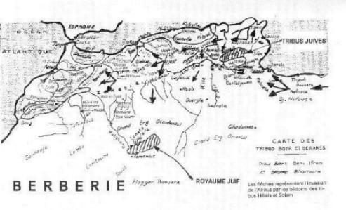 Carte de l\'Afrique du Nord et des agglomerations des tribus Berberes.jpg