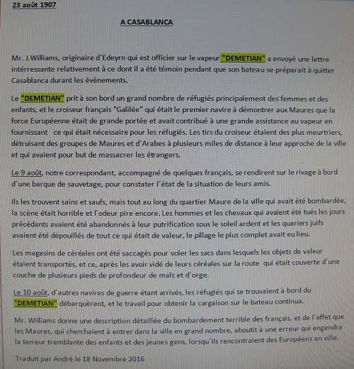 traduction du récit. Demetian. J. Williams 001.JPG