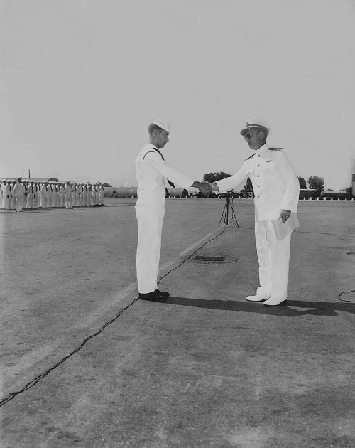 Picture of Bruder, a Control Tower Operator, receiving a Commendation in August of 1947.jpg
