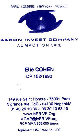 Elie Moise Cohen , espion a tout prix, carte de visite a Paris.jpg