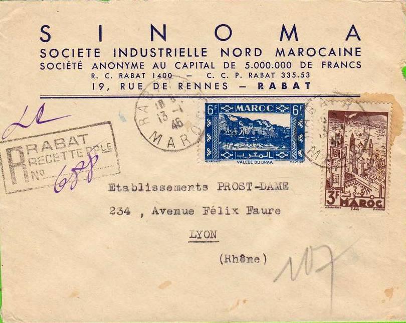 Sur Env. En-tête SINOMA de Rabat - MAROC - 2 timbres 1946.jpg