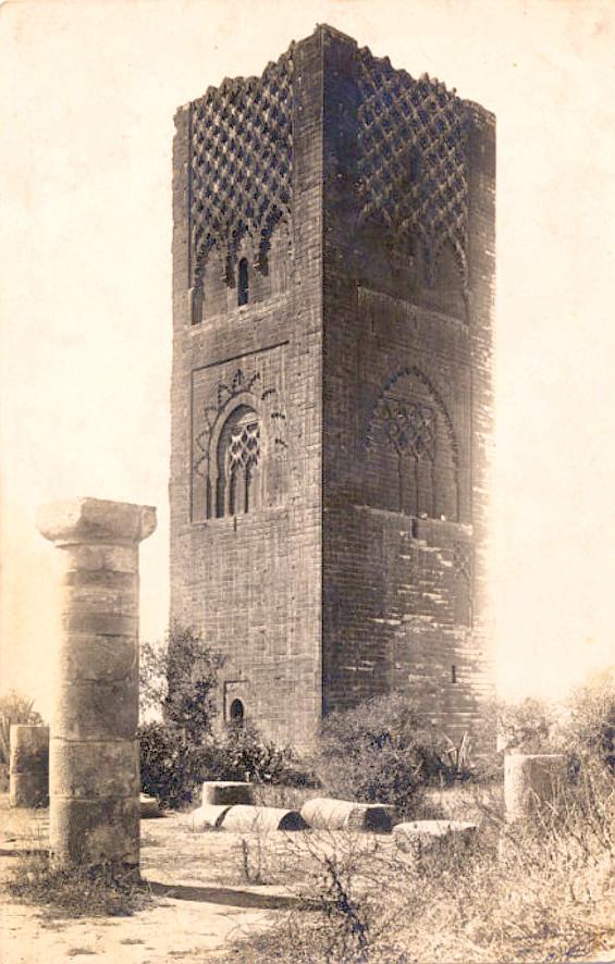 Maroc - Rabbat - Carte-Photo de la Tour Hassan (Ca 1910).jpg
