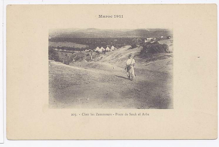 MAROC 1911 Chez les Zemmours poste de Souk el Arba.jpg